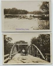 2 1910 era Frederika Iowa Bridge Wagons & Dam river real photo postcards Rppc
