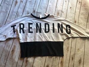 NWT Girls Justice 12 Trending Black & White Shirt