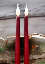 "NEW 2 pc BURGUNDY LED Taper CANDLES 400 Hour 11"" Battery Operated FLICKER BULB"