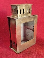 ANTIQUE early 1900 SMALLER BRASS CANDLE / OIL LAMP LANTERN  SCANDINAVIA