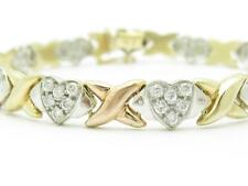 14k Tri Color Gold Heart Design Vintage Estate Stone Tennis Bracelet 15.6 Grams