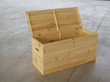 Baule in legno cm 100x40x50H portaoggetti e legna da ardere, con fori maniglia