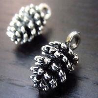 20Pcs Charm Pine Cone Antique Metal Pendant Vintage Silver Beads Tibetan DI U7U3