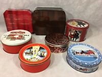 Christmas Holiday Tins Mixed Lot of 7 Hickory Farms Kelsen Collin Street Bakery