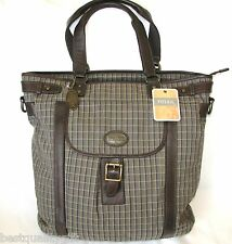 NEW FOSSIL GREEN PLAID CANVAS ESTATE CVS BRIEFCASE,CROSS BODY,HAND+UTILITY BAG