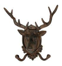 Elk Deer Mount  Wall Hook Hanger Rack Cast Iron Rustic Brown Cabin Lodge Decor