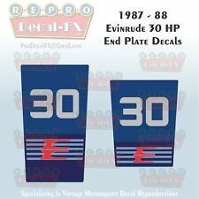 1987-88 Evinrude 30 HP End Plate Decals Outboard Reproduction 2 Pc Marine Vinyl