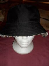 BNWOT Reversable black sun bucket hat cotton lined camping fishing EC OSFA