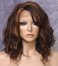 Full Lace Front Wig Bob Loose Beachy natural wavy Brown mix side part 4/27/30