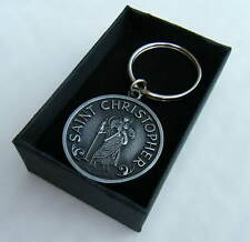 St Christopher Irish Pewter Metal Keyring Gift Boxed BRAND NEW