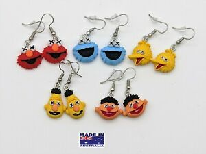 Cute SESAME STREET Puppet Characters Style Novelty EARRINGS Gift Dress Accessory