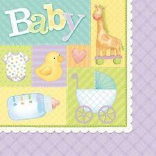 Pastel Patchwork Baby Shower Napkins Duck Giraffe Onsie Bottle Stroller Design