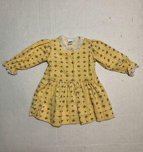 Vintage Oshkosh Toddler Dress Yellow Corduroy Floral Print Lace Collar Size 2T