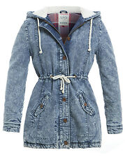 NEW Womens DENIM PARKA Ladies Fleece JACKET COAT PADDED Size 6 8 10 12 14 16