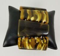 Ladies acrylic multi colored Brown Stretch Bracelet