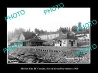 OLD LARGE HISTORIC PHOTO OF MISSION CITY BC CANADA, THE RAILWAY STATION c1920
