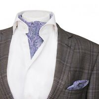 Mens Premium Ascot Classic Lilac & White Paisley Cotton Cravat Handkerchief Set