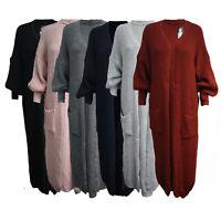 Womens Ladies Longline Fisherman`s Knit Open Front Pockets Full Sleeve Cardigan