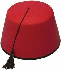 Adult Red Fez Tarboosh Hat Tommy Cooper Moroccan Turkish Fancy Dress Up Costume