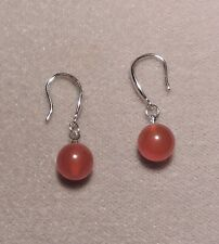 RED Agate - Silver plated Fashion Earrings     (r124)