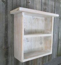 Wall Shelf Primitive Wood Rustic Barn Country Curio White Wash Display Cabinet