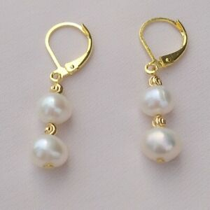 BEAUTIFUL AAAAPERFECT WHITE SOUTH SEA PEARL EARRINGS 14K Gold