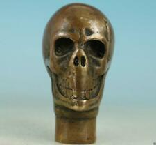 Old Handwork Bronze Carved ghost Head Statue Cane Walking Stick Head