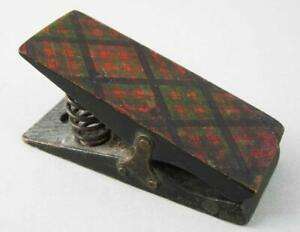 ANTIQUE TARTAN WARE TREEN LETTER CLIP by PERRY & CO LONDON 1870 Mauchline Ware