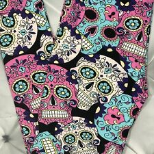 Colorful Sugar Skull Print Leggings Pants One Size OS Buttery Soft Pink Black