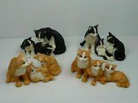 Lot 4 famille chats en résine roux et noir 10 cm