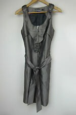 TOKITO Pencil dress Sz 8 Grey Slips on with exposed zip in front Belted waist