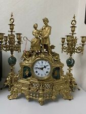 Lancini Three Piece Clock Set in Malachite and Brass, made in Italy