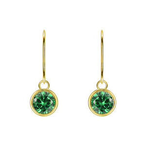 14K YELLOW GOLD FN GREEN EMERALD ROUND SHAPE EARRINGS DANGLE DROP LEAVER-BACK