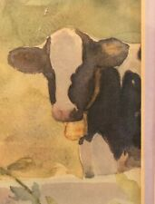 Vintage Judy Buswell Signed Watercolor Print Framed And Matted Cows Awesome