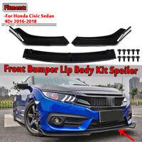 SET Schwarz Front Stoßstange Spoilerlippe für Honda Civic Sedan 4Dr  !