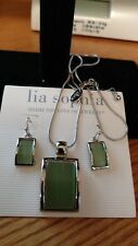 New Lia Sophia GREEN RIVER rhodium necklace & earrings set Signed Mothers Day