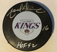 "MARCEL DIONNE SIGNED AUTOGRAPHED LOS ANGELES KINGS PUCK HOF THE GOALIE""S DEN COA"