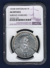 """SWITZERLAND  1925-B  5 FRANC COIN, NGC CERTIFIED  """"ALMOST UNCIRCULATED DETAILS"""""""