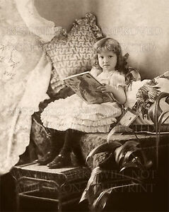 Victorian child girl reading book 1885 photo, CHOICE! 5x7 or request digital CD