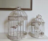 Round oval Burnished METAL Bird Cages set  2  INDOOR OUTDOOR weddings garden
