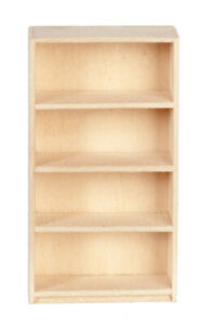 1/24th Scale Basswood Bookcase, Dolls House Miniature 1.24th