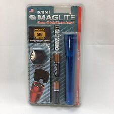 Sealed Mini MagLite 96 Meters Extra 2 Lamps n Holster Batteries Included Blue
