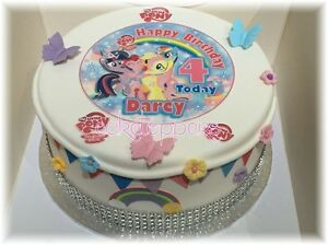 """EDIBLE MY LITTLE PONY 4.7"""" ICING PERSONALISED CAKE TOPPER + BUNTING + 24 EXTRA'S"""