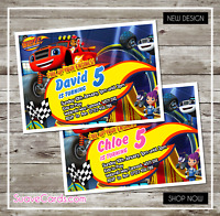 Blaze and The Monster Machines   Personalised Birthday Invitations 4 Boy & Girl