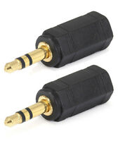2x 3.5mm Mono Female to 3.5mm Stereo Male Audio Headphone Adapter Converter Gold