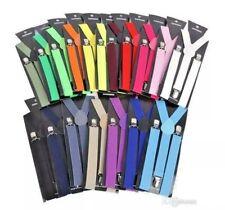 Unisex Teens Men Ladies Adjustable Slim Fashion Braces Suspenders Y Back Clip On