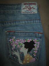 True Religion Size 27 Section Woodstock Geisha Girl Destroyed Flare Womens Jean