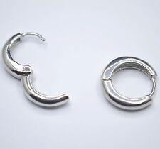 Shiny 925 Sterling Silver Plated Smooth Plain Simple Huggie Hoop Earrings Gift