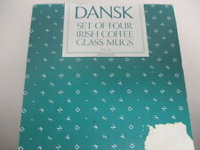 Dansk set of 4 Irish Coffee Glass Mugs, 8.5 OZ, Excellent Condition in Box