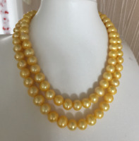 """36"""" NATURAL 10-9MM SOUTH SEA GOLDEN PEARL NECKLACE 14K GOLD CLASP"""